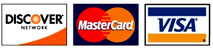 We Accept Discover Mastercard and Visa!